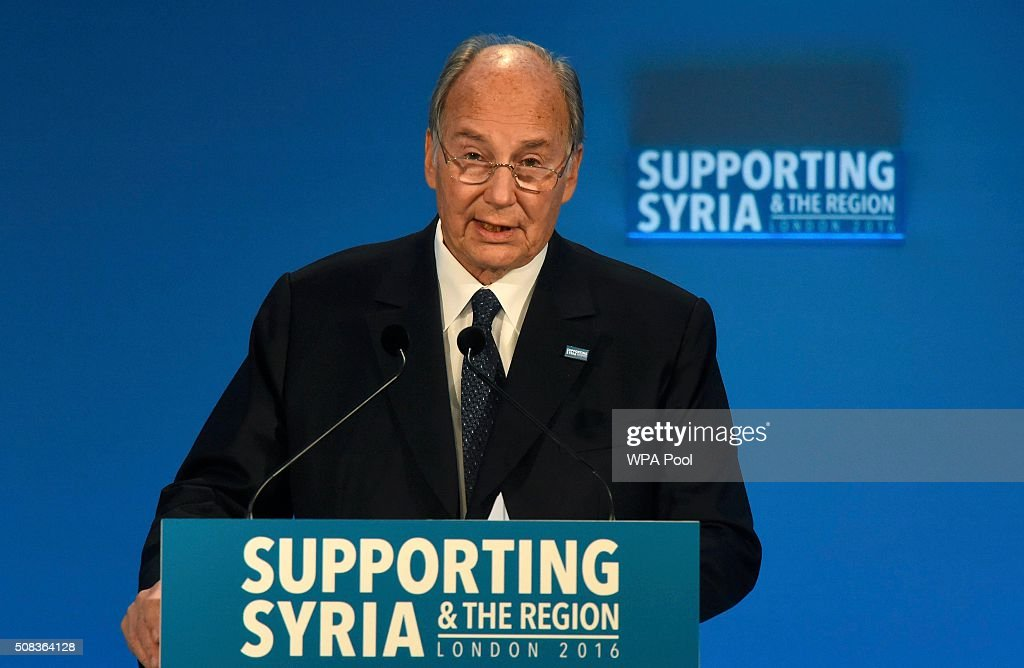 The Aga Khan attends the 'Supporting Syria Conference' at The Queen Elizabeth II Conference Centre on February 4, 2016 in London, England. World leaders are gathering for the 4th annual donor conference in an attempt to raise £6.2bn GBP to those affected by the war in Syria.