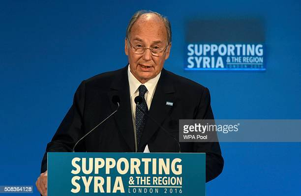 The Aga Khan attends the 'Supporting Syria Conference' at The Queen Elizabeth II Conference Centre on February 4 2016 in London England World leaders...