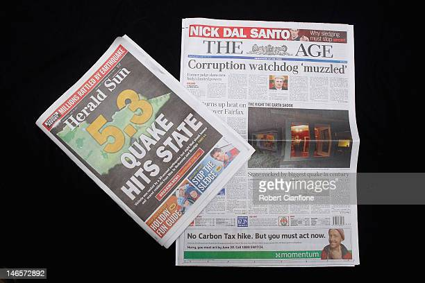 The AGE newspaper is seen next to News Limited newspaper The Herald Sun on June 20 2012 in Melbourne Australia Fairfax media group this week...