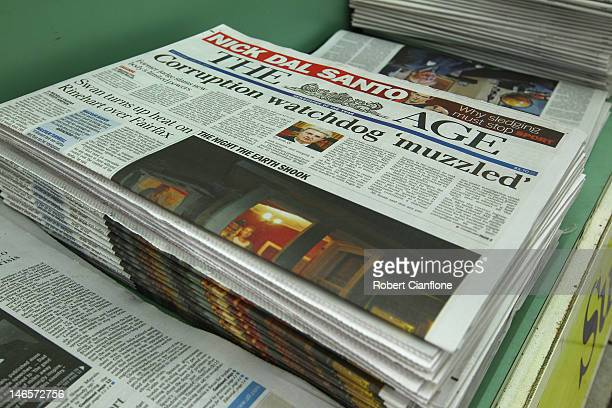 The AGE newspaper is seen next to News Limited newspapers The Australian and The Herald Sun in a news agency on June 20 2012 in Melbourne Australia...