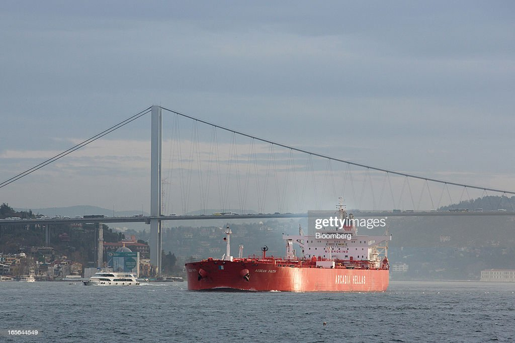 The 'Agean Faith' (Arcadia Hellas) oil tanker passes through the Bosphorus strait in Istanbul, Turkey, on Thursday, April 4, 2013. Turkey's gross domestic product expanded 2.2 percent in 2012, down from 8.8 percent the previous year, according to data released by the statistics office in Ankara on April 1. Photographer: Kerem Uzel/Bloomberg via Getty Images