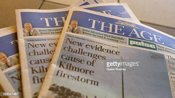 The Age's first compact edition front page is seen on March 4 2013 in Melbourne Australia The Sydney Morning Herald and The Melbourne Age published...
