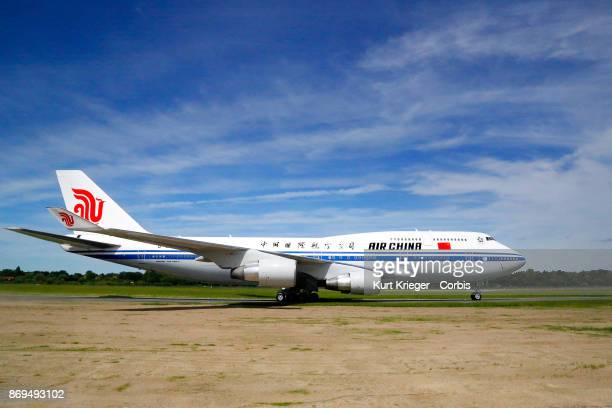 The Air China Boeing 747 carrying Chinese President Xi Jinping arrives at Hamburg Airport for the Hamburg G20 economic summit on July 6 2017 in...