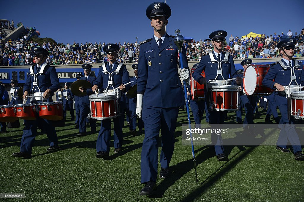 The Air Force marching band takes the field at Falcon Stadium before the game against Notre Dame Saturday afternoon, October 26, 2013.