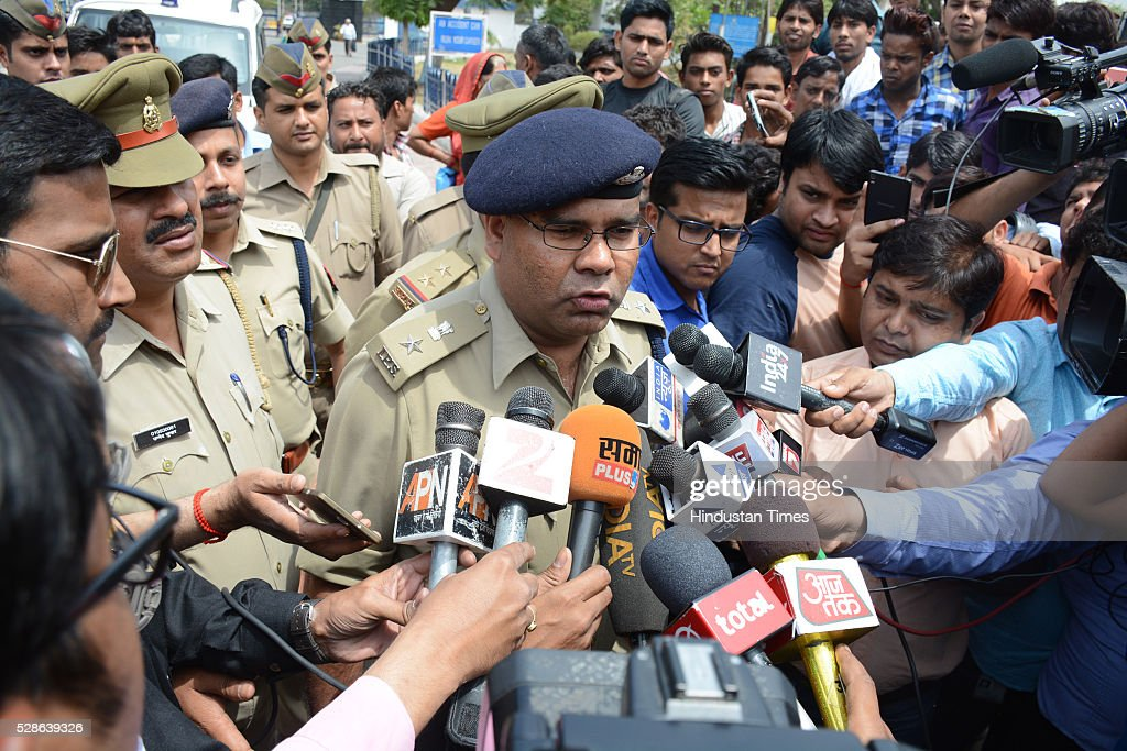 The air force officials at Hindon air base address media after the joint search operation by police and airforce team after a man was noticed in early hours of the day by the security staff on May 6, 2016 in Ghaziabad, India. During search, the joint team of air force and police personnel nabbed the man named Sonu Jatav, aged 24 roaming under suspicious circumstances. According to police sources he seems to be retarded but was detained for further investigation by agencies.