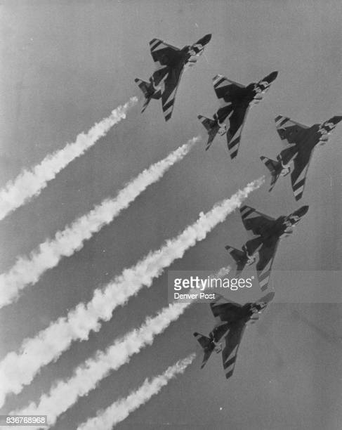 The Air Force Thunderbird Team moves into a Vshaped pattern during its flight over Buckley Air National Guard Base Credit Denver Post