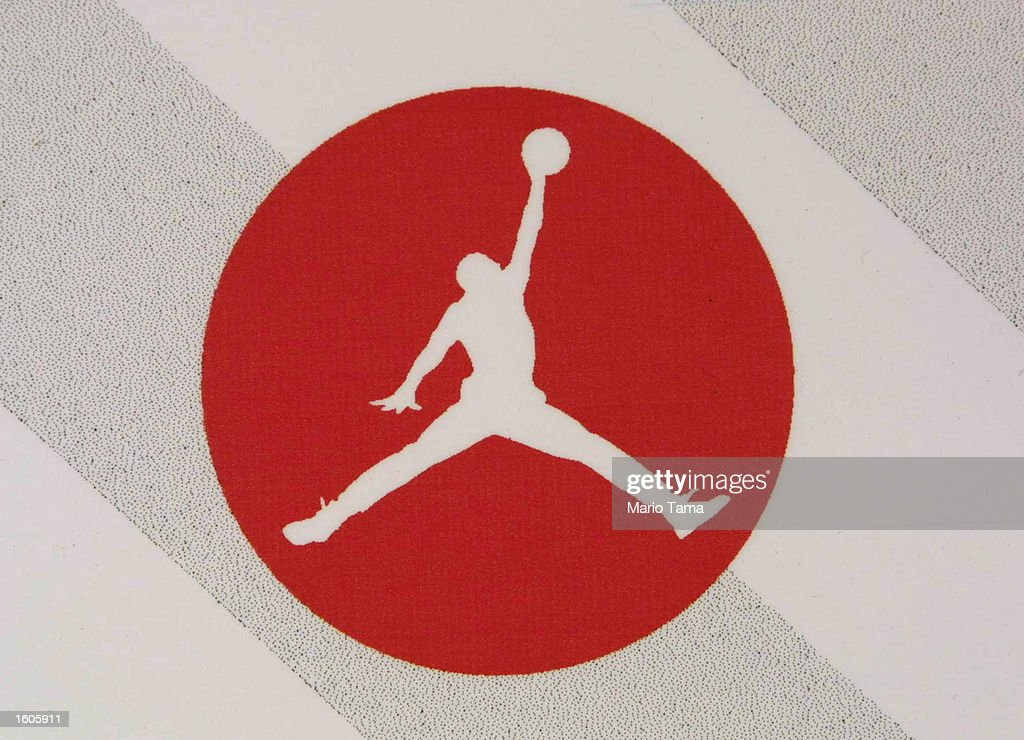 The Air Jordan logo is displayed at a Jordan promotional event July 31 2001 in Harlem New York City