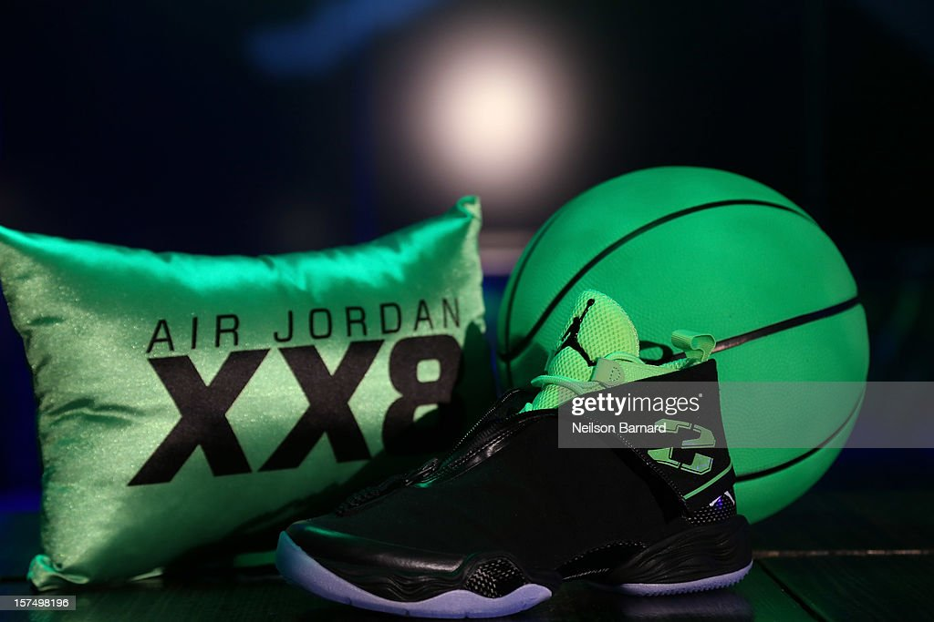 The Air Jordan XX8 on display during the Dare To Fly AJXX8 event at PH-D Rooftop Lounge at Dream Downtown on December 3, 2012 in New York City.