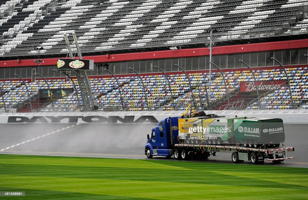 The Air Titan is used to dry the track during NASCAR Preseason Thunder at Daytona International Speedway on January 9, 2014 in Daytona Beach, Florida.