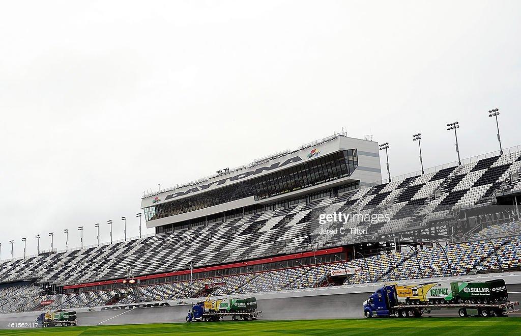 The Air Titan is used to dry the track during NASCAR Preseason Thunder at Daytona International Speedway on January 9, 2014 in Daytona Beach, Florida.