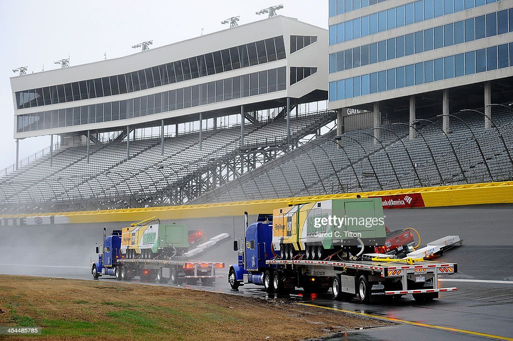 The Air Titan is used to dry the track prior to testing at Charlotte Motor Speedway on December 9, 2013 in Charlotte, North Carolina. Testing was eventually canceled for the day and has been postponed until Wednesday.