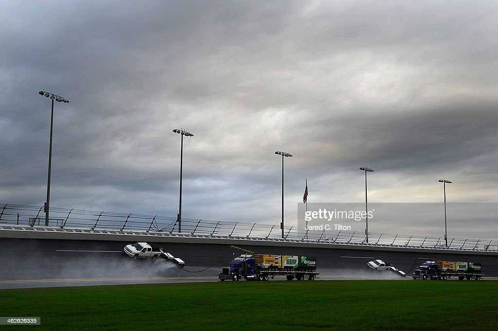 The Air Titan is used to dry the track prior to the final test session during NASCAR Preseason Thunder at Daytona International Speedway on January 14, 2014 in Daytona Beach, Florida.