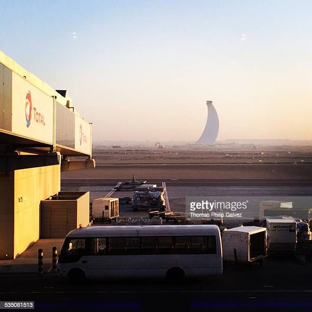 The Air Traffic Control Tower at Abu Dhabi International Airport Just after Sunrise UAE