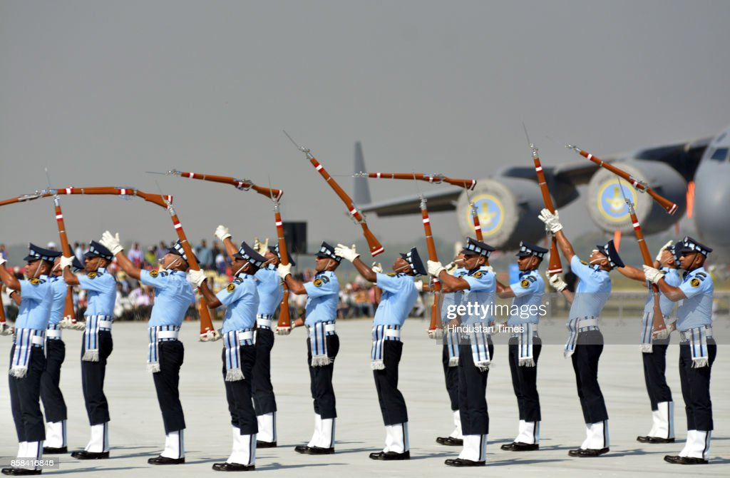 The air warriors on Friday put up a full dress rehearsal ahead of the 85th anniversary of the IAF on October 8. The front lines fighter aircraft along with transporters and heavy lifters put up breathtaking maneuvers while the personnel put up a scintillating display of parade and Para jumping at Hindon Air Base, on October 6, 2017 in Ghaziabad, India.