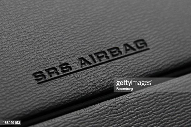 The airbag unit for the passenger seat of a Toyota Motor Corp vehicle is seen at the company's showroom in Tokyo Japan on Thursday April 11 2013...