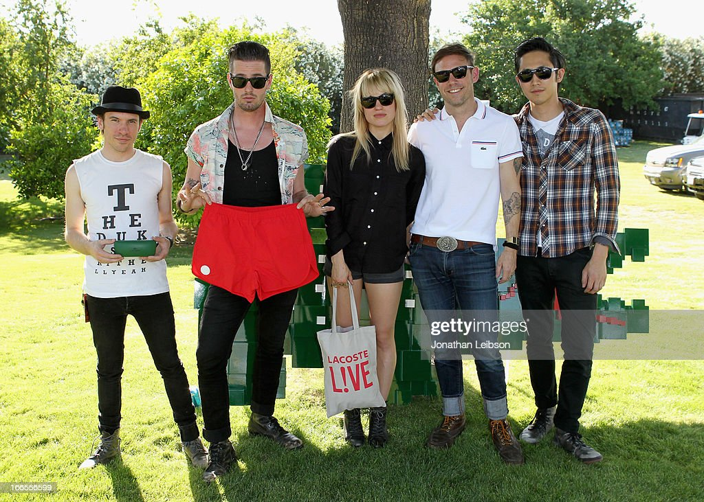 The Airborne Toxic event attends LACOSTE L!VE 4th Annual Desert Pool Party on April 13, 2013 in Thermal, California.