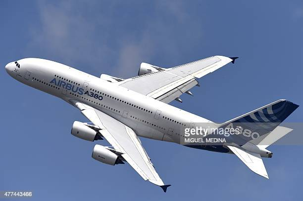 The Airbus A 380 airplane performs during the International Paris Airshow at Le Bourget on June 17 2015 AFP PHOTO / MIGUEL MEDINA