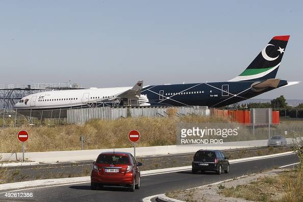 The Airbus A340 airplane that belonged to former dictator Moamer Kadhafi is pictured on October 14 2015 on the premises of the maintenance company...