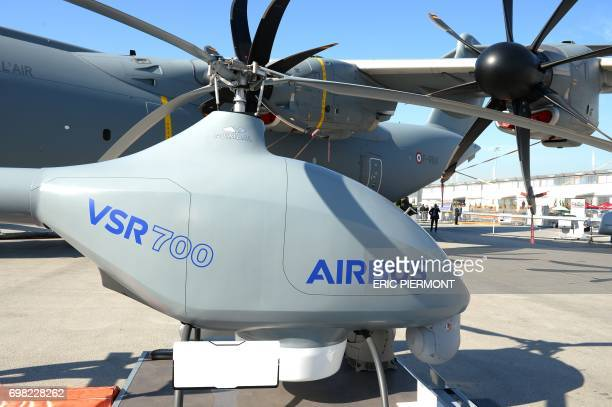 The Airbus Helicopters' VSR700 Optionally Piloted Vehicle demonstrator is presented on the tarmac in front of the Airbus A 400M at the Airbus...
