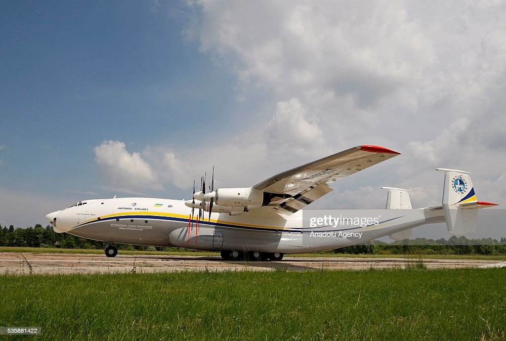 The aircraft 'AN-22' ('Antaeus') is ready to take off before a demonstration flight from the airfield 'Svyatoshin' (Kiev) to the airport 'Kyiv-Antonov' (Hostomel) in Kiev, Ukraine on May 30, 2016. Ukrainian aircraft 'AN-22' is restored on the aircraft factory 'Antonov' and returned to commercial operation. The 'AN-22' is the world's first wide-body transport plane and the world's largest turbo-prop airplane.