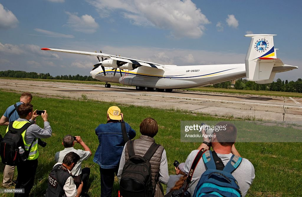 The aircraft 'AN-22' ('Antaeus') takes off during a demonstration flight from the airfield 'Svyatoshin' (Kiev) to the airport 'Kyiv-Antonov' (Hostomel) in Kiev, Ukraine on May 30, 2016. Ukrainian aircraft 'AN-22' is restored on the aircraft factory 'Antonov' and returned to commercial operation. The 'AN-22' is the world's first wide-body transport plane and the world's largest turbo-prop airplane.