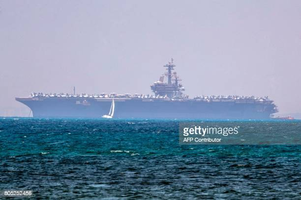 The aircraft carrier USS George HW Bush is seen moored in the Mediterranean Sea off the Israeli port of Haifa on July 1 2017 The 1092 feet carrier...