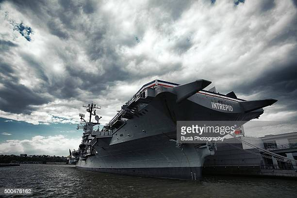 The aircraft carrier USS Intrepid, docked on the Hudson River, New York City