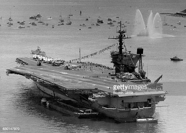 The aircraft carrier USS John F Kennedy during the Tall Ships celebration in Boston Harbor on June 3 1984