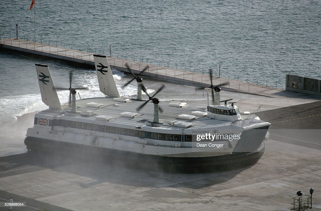 The aircushion vehicle ''Princess Margaret'' transitions from water to the concrete apron after the onehour trip from France England