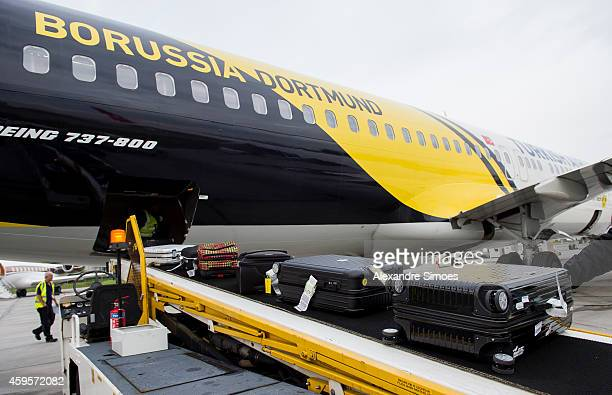 The airplane at the London airport prior to their UEFA Champions League match against FC Arsenal at Emirates Stadium on November 25 2014 in London...