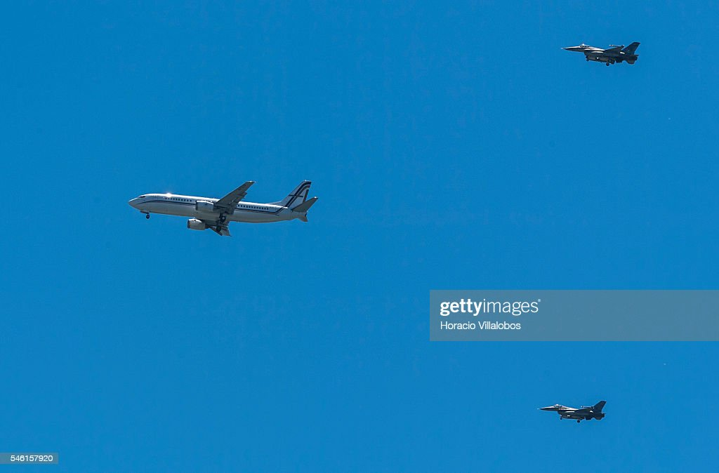 The airplane carrying Portugal's National Soccer Team flies over Lisbon escorted by two Portuguese Air Force F-16s on its way to land at the city's International Airport on July 11, 2016 in Lisbon, Portugal. Portuguese player Eder scored the winning goal against France in extra time and Portugal won the Euro 2016.