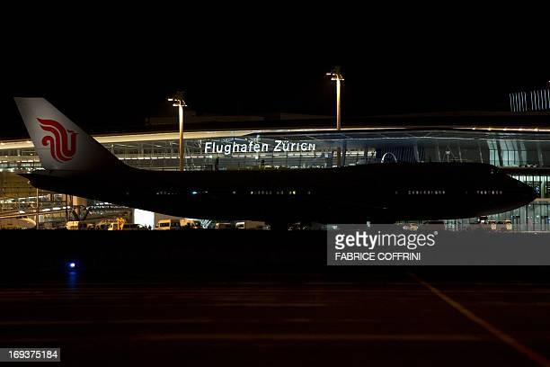 The airplane of the Chinese prime minister is seen upon landing at Zurich Airport late on May 23 2013 Chinese Prime Minister Li Keqiang who arrived...
