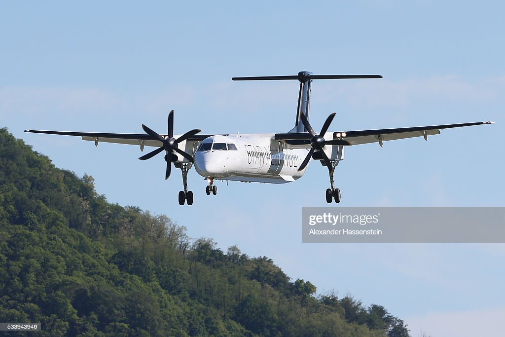 The airplane onborad with the German national team arrives at Lugano Airport on May 24, 2016 in Ascona, Switzerland.