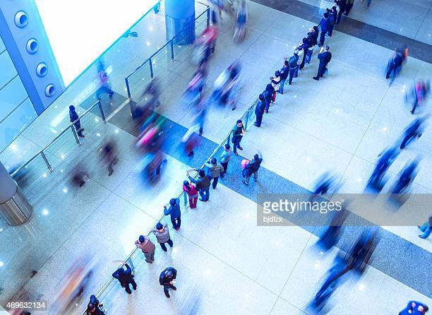 The airport around the crowd, motion blur