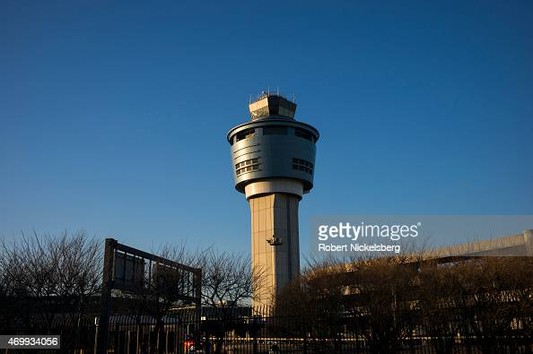 The airport control tower is viewed at LaGuardia Airport March 25 2015 in the Queens borough of New York