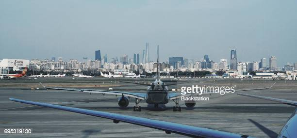 the airport skyline in Shanghai