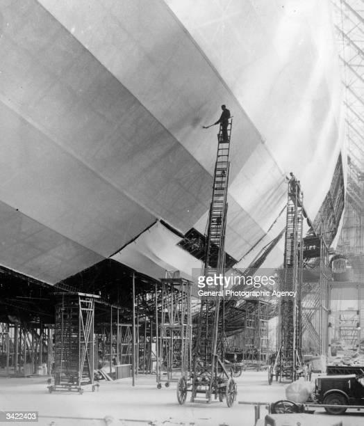The airship Hindenburg under construction at Friedrichshafen
