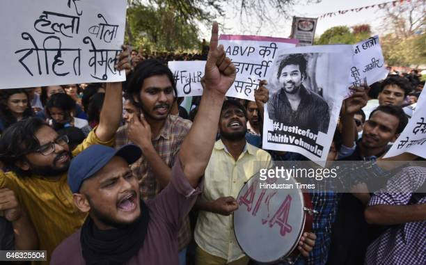 The AISA JNUTA and Delhi University Students protest march against ABVP wing after 22nd February issue from Khalsha College to Art Faculty in Delhi...