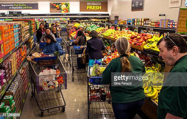 The aisles are crowded at Aldi food market during the grand opening on March 24 2016 in Moreno Valley California Aldi is opening its first 8 stores...