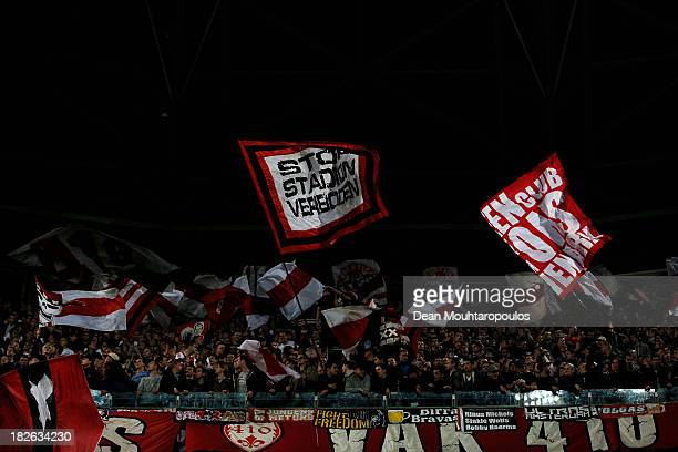 The Ajax fans show their support prior to the UEFA Champions League Group H match between Ajax Amsterdam and AC Milan at Amsterdam Arena on October 1...