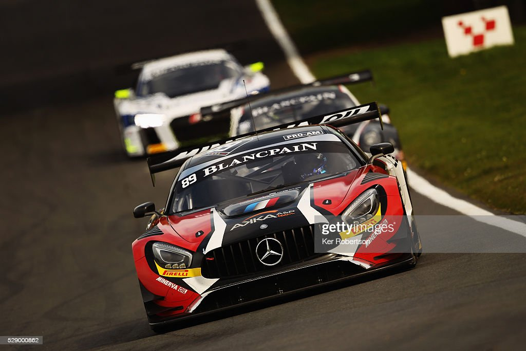 The AKKA ASP Mercedes AMG of Christophe Bourret and JeanPhilippe Belloc drives during qualifying for the Blancpain GT Series Sprint Cup at Brands...