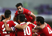 The Al Ahli team celebrate the opening goal of Ahmed Khalil Sebait Mubark Alkunaibi during the President's Cup Final between Al Ahli and Al Nasr at...