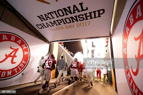 The Alabama Crimson Tide take the field prior to the 2017 College Football Playoff National Championship Game against the Clemson Tigers at Raymond...