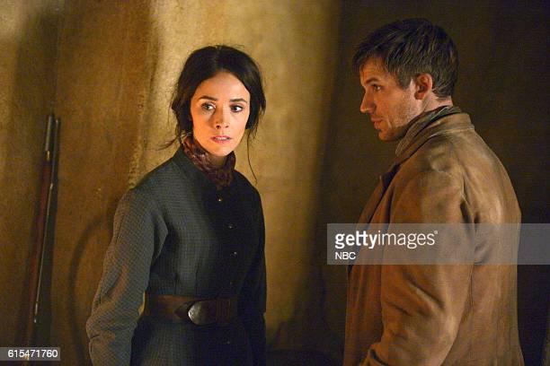 TIMELESS 'The Alamo' Episode 104 Pictured Abigail Spencer as Lucy Preston Matt Lanter as Wyatt Logan