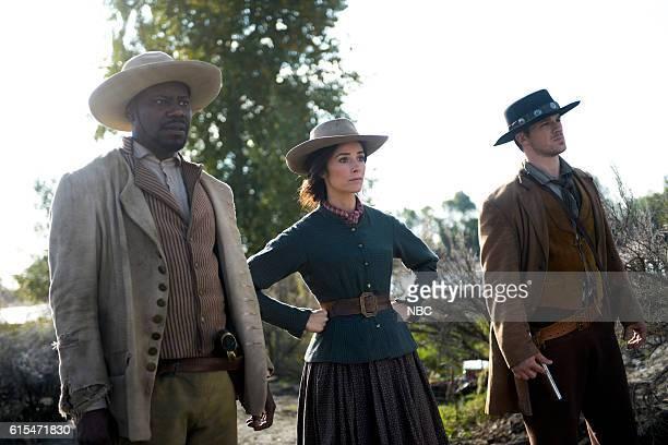TIMELESS 'The Alamo' Episode 104 Pictured Malcolm Barrett as Rufus Carlin Abigail Spencer as Lucy Preston Matt Lanter as Wyatt Logan