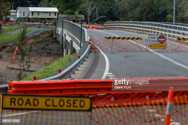 The Alan Wilke Bridge where a torrent of flood water passed through and damaged the bridge making it unsafe on April 3 2017 in Yatala Australia Heavy...