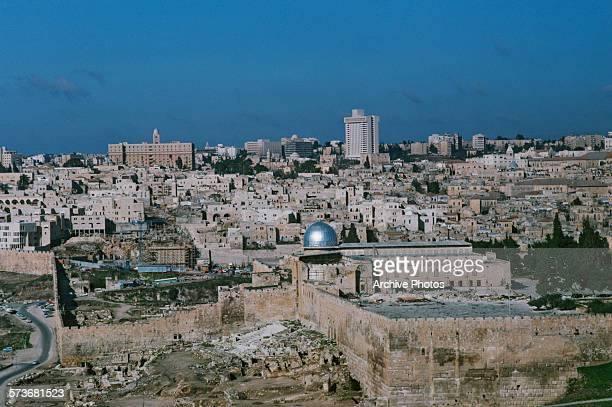 The AlAqsa Mosque in the Old City of Jerusalem seen from the Mount of Olives 1975