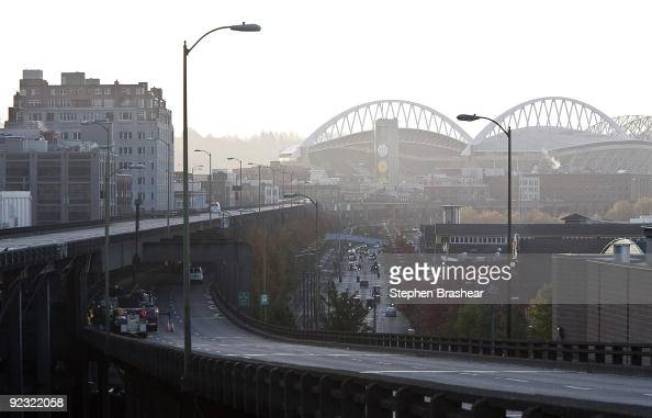 The Alaskan Way Viaduct winds past downtown Seattle Washington to Qwest Field October 24 2009 The viaduct which was constructed in the 1950s and...