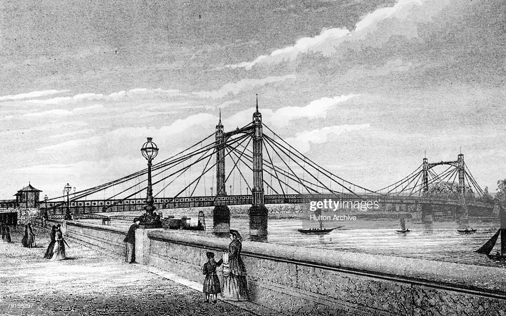 The Albert Bridge between Chelsea and Battersea in London, circa 1885. Opened in 1872, it was named after the consort of Queen Victoria.