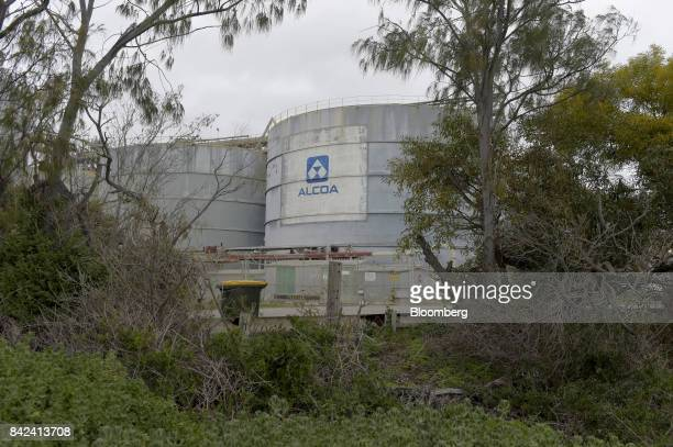 The Alcoa Corp logo is displayed on a storage tank at the company's Kwinana Alumina Refinery in the port area of Kwinana Western Australia Australia...